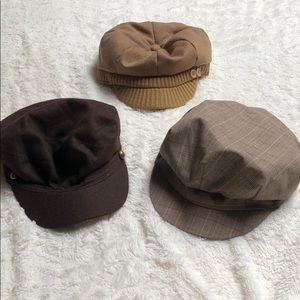 Tan and Brown Cabbie Hat Bundle of 3, One Size